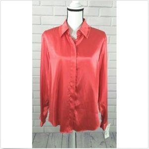 Halston Red Button Down Dress Shirt Blouse Size 16